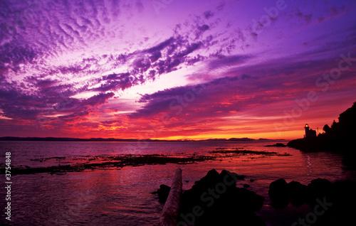 Canvas Zonsondergang sunset at lime kiln point