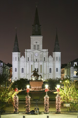 New Orleans landmark, St. Louis Cathedral & Jackson Monument,