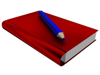 The isolated illustration of the book and pencil. 3D image.
