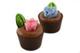 Delightful and colorful handmade flowerpot chocolates. poster