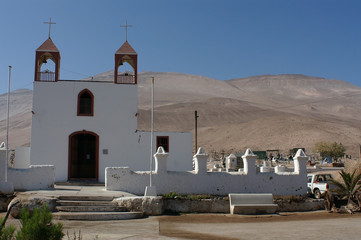 White church in Poconchile, Chile