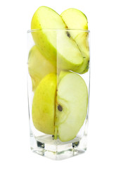 fresh apples in the glass isolated with clipping path