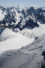 Skier on Mont Blanc mountain range
