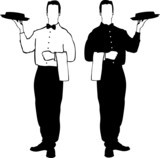 Waiter vector illustrations - service poster