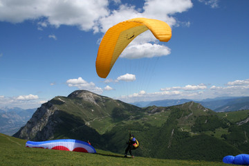 Paragliding in the Italian Alps.