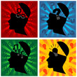 Head silhouette representing different thoughts