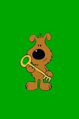 dog holding a key