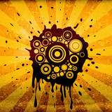 retro circles and ink splats on grunge background poster