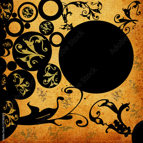 abstract design with flowers and circles.