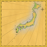 Antique map of japan (hand drawn on computer)) poster