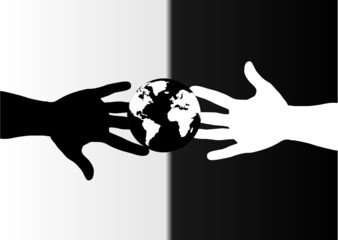 hands black and white and globe