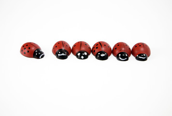 Wooden ladybirds in a row and an isolated one