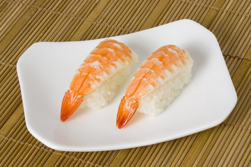 Japanese food - Ebi nigiri on a plate..
