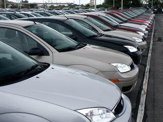 Front of new cars in new car lot