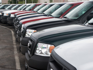 Front of trucks in new car lot