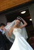 The beautiful bride corrects for a veil poster