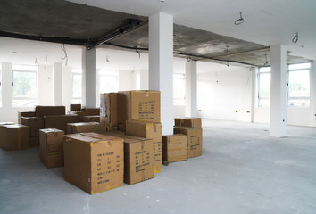 Warehouse.Storage boxes in industrial warehouse - Logistics