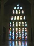 Window of church. Faith/.Light through darkness poster