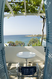 greek island view   guest house  grape arbor fish eye view poster