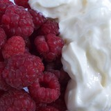 Raspberries with cream