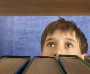 The boy chooses a book