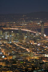 Bay Bridge lights with at night