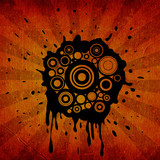 circles and ink splats on grunge background poster
