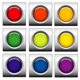 Glossy web buttons. Different colors poster