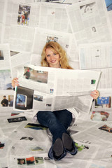 business - newspaper - woman