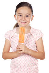 Girl eating an ice cream a over white background