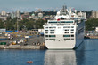 Cruise ship docked in Victoria, British Columbia harbor