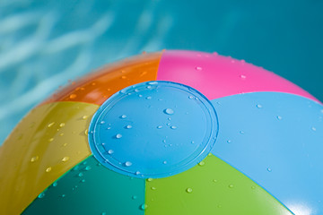 Beach ball close-up with water dropplets