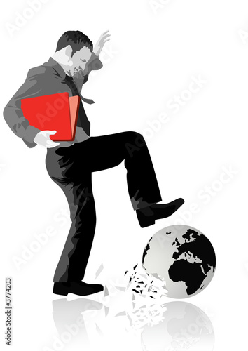 A businessman stamping on the world.