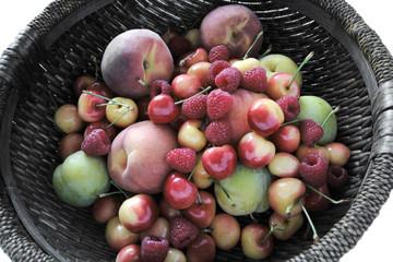 peaches, plums, raspberries, Rainier cherries