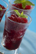 redcurrant or strawberry granita close up shoot