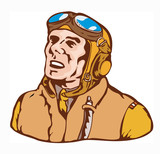World war two ace pilot on white background poster