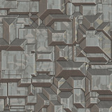 abstract futuristic geometric image of grey block city poster