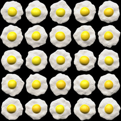 a large image of lots of fried eggs each different from others