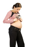 Happy pregnancy women look to tommy. Isolate on white. poster