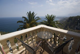 sicily taormina villa hotel italy patio deck over sea luxury   poster