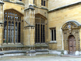 Bodleian library, Oxford University, detail of windows and door poster