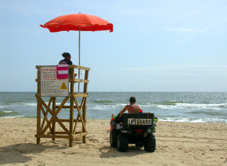 two lifeguards at a station in virginia beach