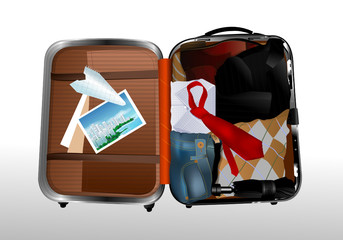 a suitcase with clothes