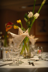 Elegant wedding table setting at a reception