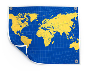 Paper sheet with world map isolated illustration