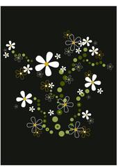 Blumenmuster auf dunklem Hintergrund