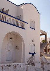 view of a typical greek home on the island of santorini