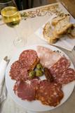rome italy ham prosciutto salami plate with white wine  poster