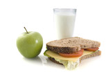Healthy lunch with whole-meal bread and milk poster