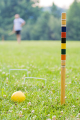 Game of croquet scene
